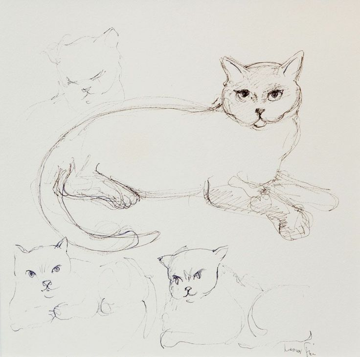 Cats Ink Drawing 1988 Leonor Fini