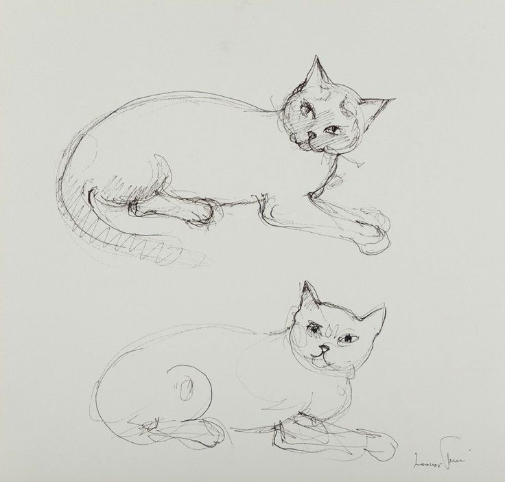 Two Cats Ink Drawing 1988 Leonor Fini