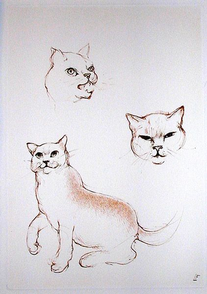 Passion Etching 1986 Leonor Fini cats