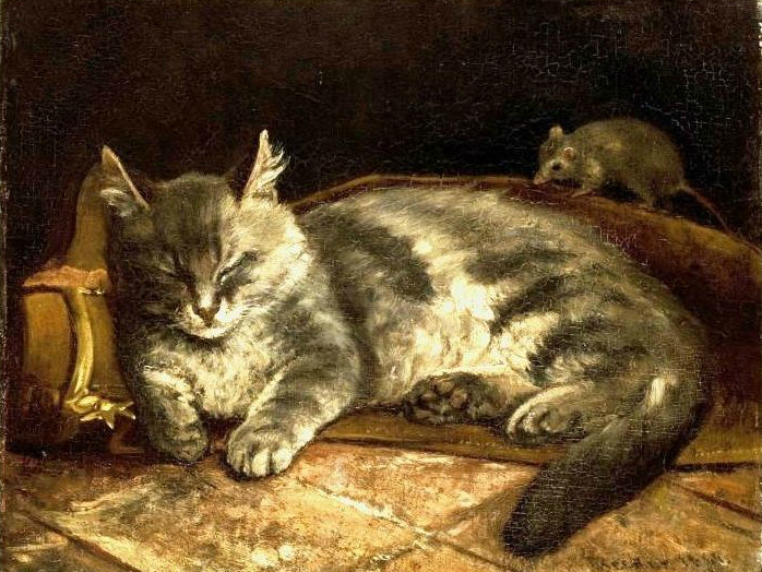 Adolf von Becker (Finnish, 1831-1909) Cat and Rat 1864