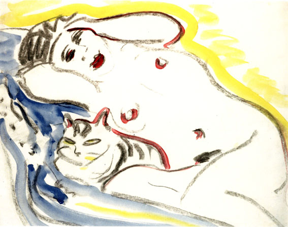 Kirchner Nude with White Cat, Akt mit Weisse Katze, cats in art
