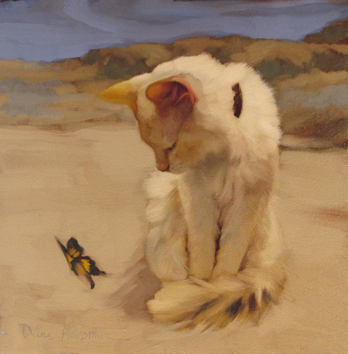 Cat and Butterfly V diane hoeptner cat paintings, cats in art