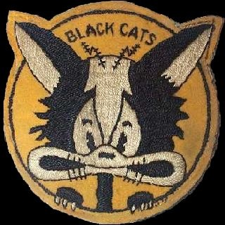 VPB-44 Black Cat squadron logo. It was designed during WWII by VP-44 pilot LT Don Black. Note the radar antennas on the top of the cat's head. (Established as Patrol Squadron FORTY FOUR (VP-44) on 3 June 1941. Redesignated Patrol Bombing Squadron FORTY FOUR (VPB-44) on 1 October 1944.