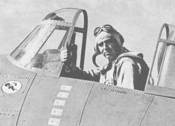 WWII LT Edward Butch O'Hare in a Grumman F4F-3 Wildcat The wartime censor has blanked out the famous Felix the Cat squadron insignia on this photo