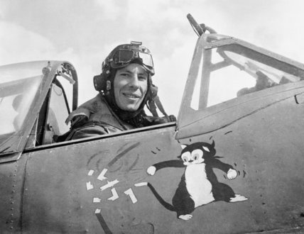 "Wing Commander Ian ""Widge"" Gleed, leader of No. 244 Wing, in his Supermarine Spitfire Mk VB at an airfield in Tunisia, April 1943. Days later he was shot down and killed by Messerschmitt Bf 109s over Cape Bon."