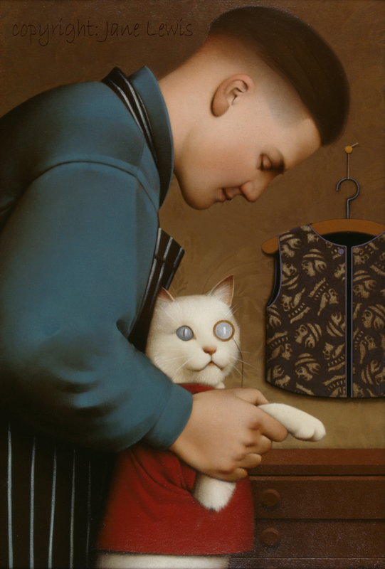 Jane Lewis, Dressing the Cat (2) paintings with cats