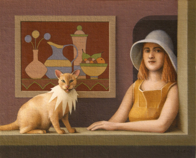 Jane Lewis, Laughing Cat, cats in paintings