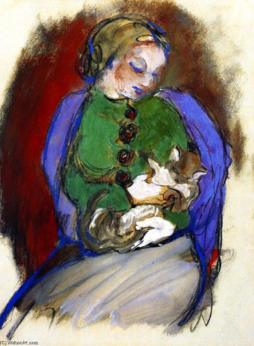 Franz Marc Girl with a Cat 1910, cat art, cats in art