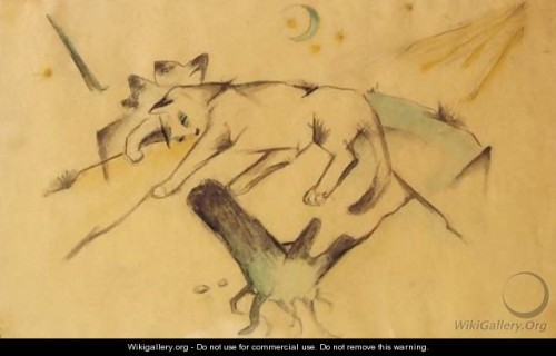Franz Marc Kittens Lying Down, cat drawings