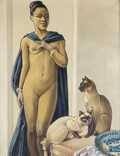 woman and two siamese cats