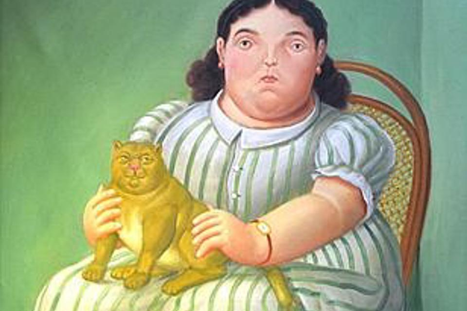 Botero, Seated Woman with a Cat 1955, detail