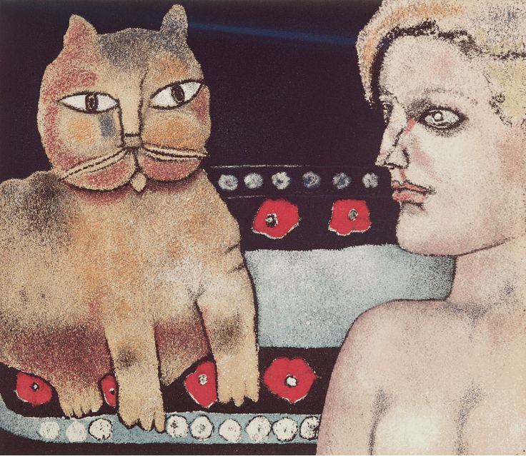 F. Gentilini The Girl and the Cat 1977, women and cats