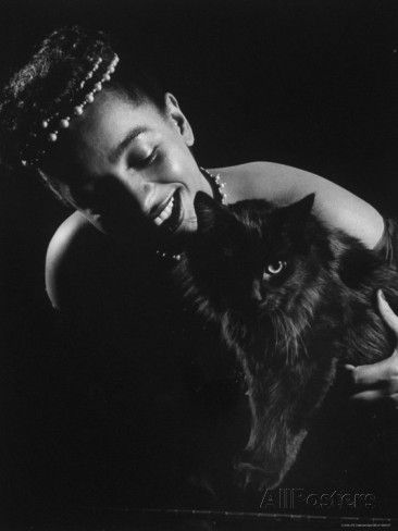 Gjon Mili's Cat Blackie Being Hugged by Nightclub Entertainer Maune de Revel
