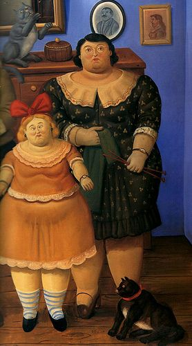 F. Botero Mother and Daughter with cat
