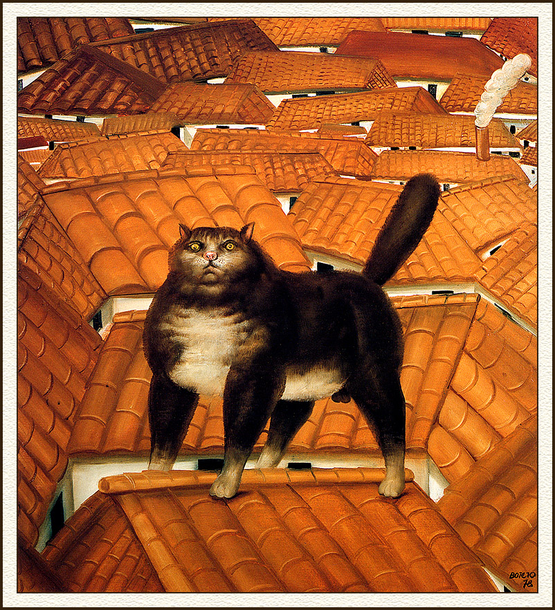 Botero, cat on a roof, cats in art