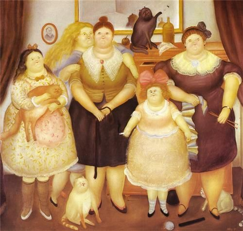 F Botero Sisters with cat 1969