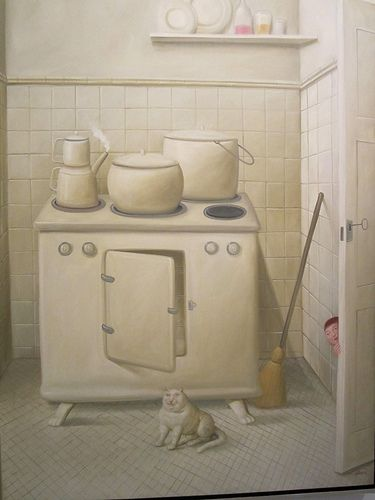 f. Botero the kitchen, cat art