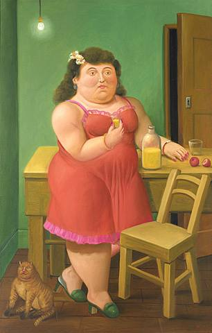 F. Botero Woman Drinking with Cat