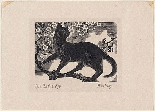Eileen Mayo Cat in a Cherry Tree 1947 Wood engraving printed on ink on ivory tissue