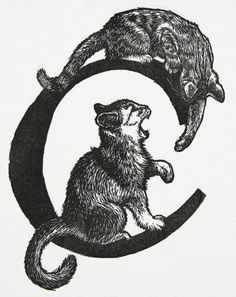 C for Cat Linocut, Miller Parker, cats in illustrations