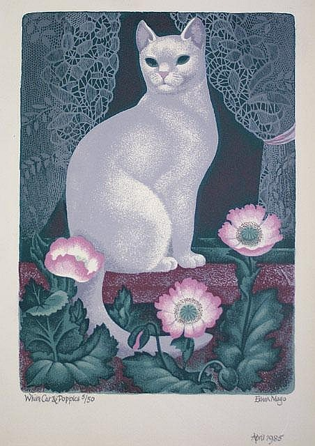 White Cat and Poppies  linocut  Dame Eileen Mayo