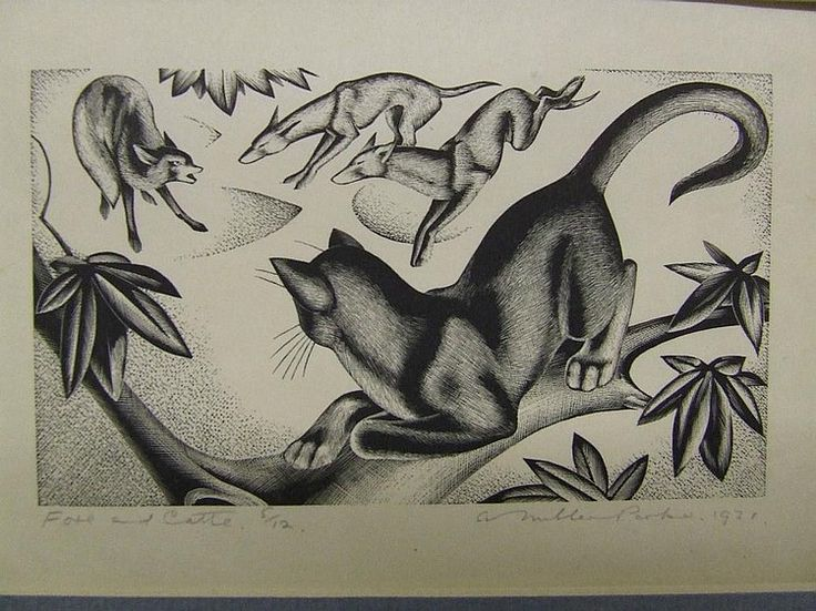 Foxes and Cat Miller Parker, cats in art, cat prints