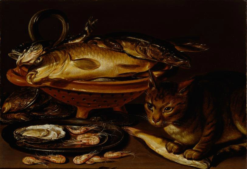 Still Life of Cat and Fish, Clara Peeters, cat art