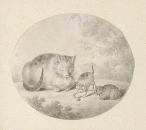 Gottfried Mind Mother and two kittens