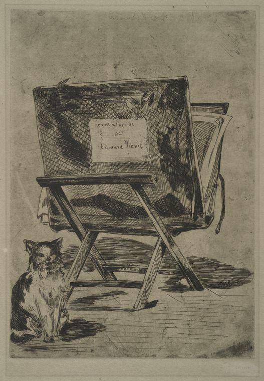 etching with cat Manet