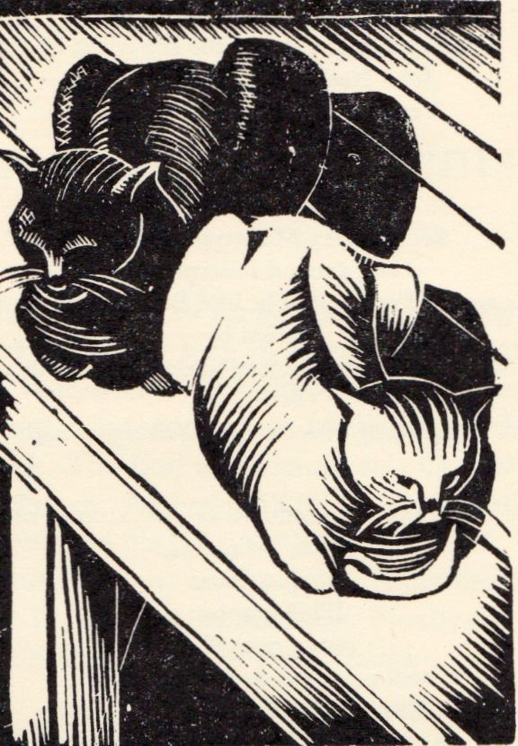 Two Cats wood engraving, j nash