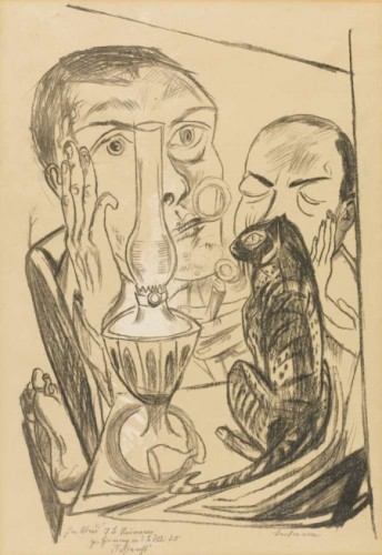 Max Beckmann, Self-Portrait with Cat and Lamp 1920