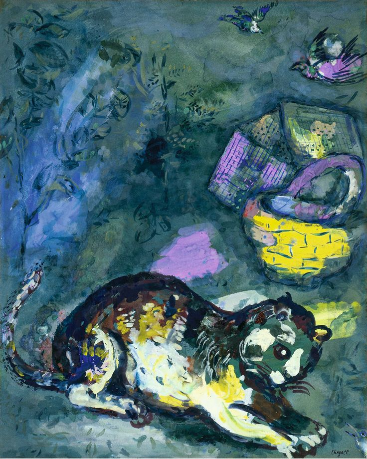 Chagall The cat and the two sparrows, 1925