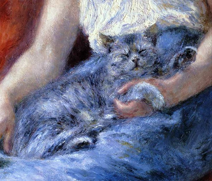 Pierre-Auguste Renoir (1841-1919) - Sleeping Girl with a Cat (detail), 1880