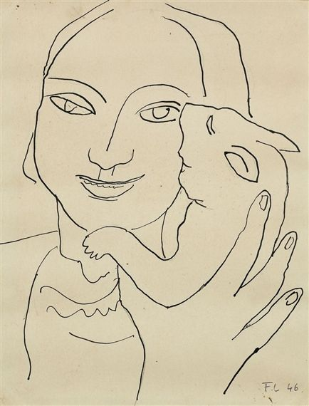 F Leger Woman and Cat sketch