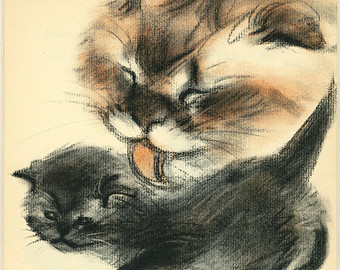 Mother Cleaning her Kitten, Clare Turlay Newberry