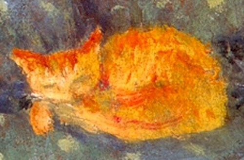 orange cat sleeping, P. Bonnard