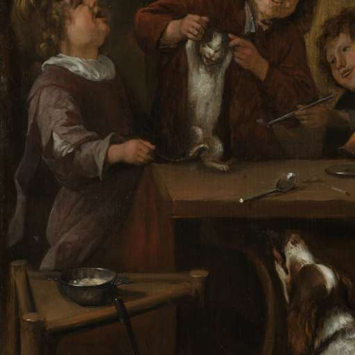Detail The Dancing Lesson, Jan Steen