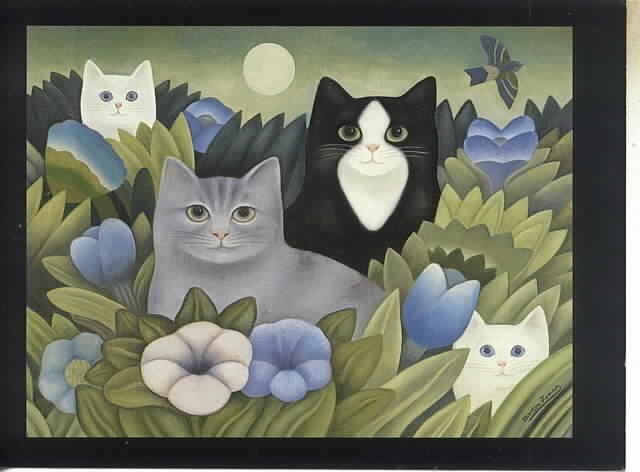 Hide and Seek, M. Leman, cat paintings