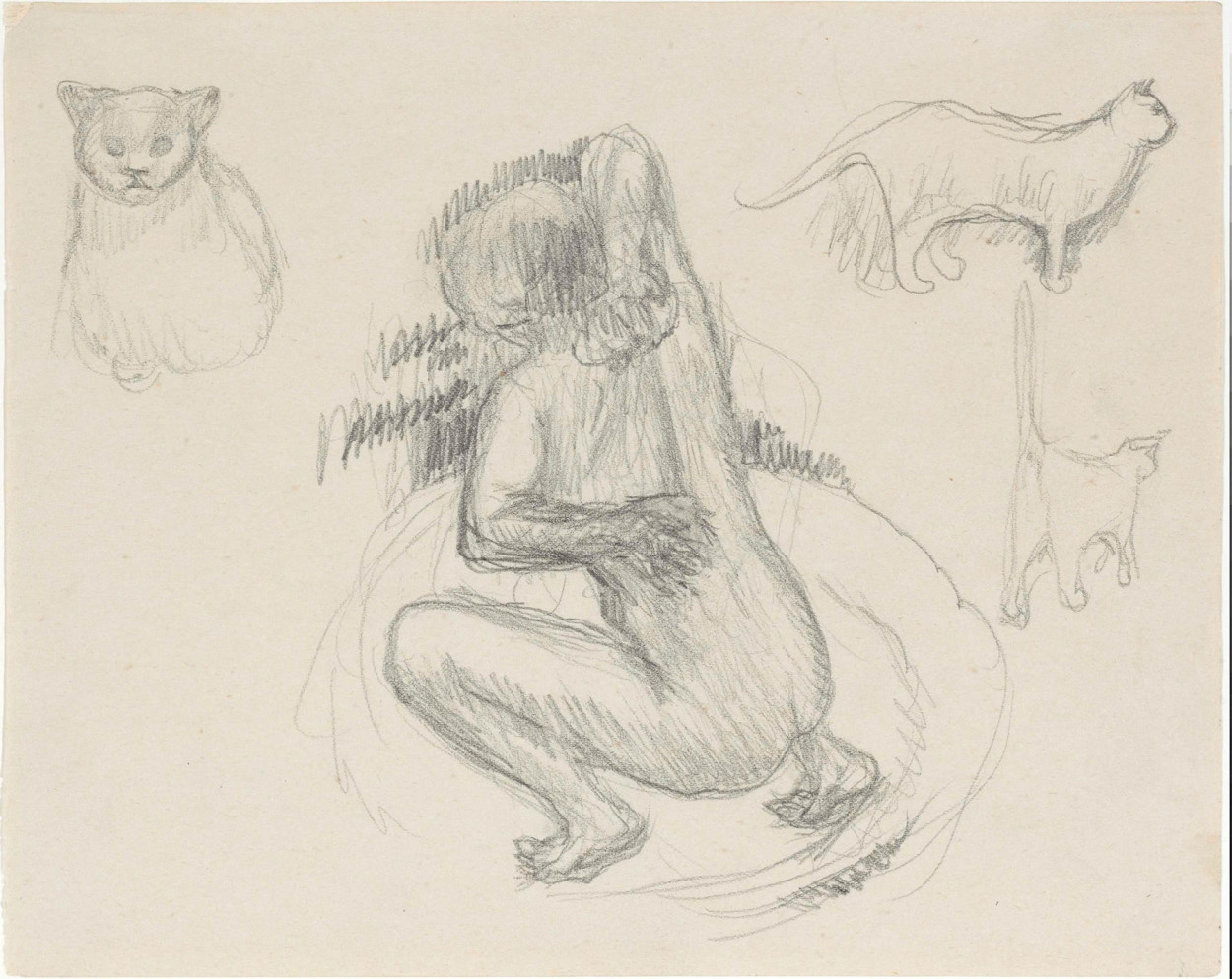 Sketch Woman and Cats- P. Bonnard