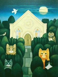 Peaceful Evening for Cats, M. Leman, cat art, cat paintings