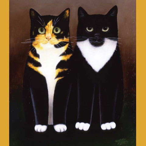 Penny Black and Tiffany - tortoise shell cats, cat art, Martin Leman
