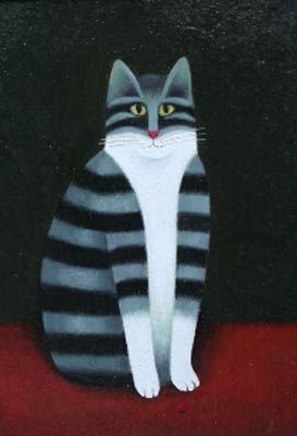 Stripey cat, M. Leman, cat art, cat paintings