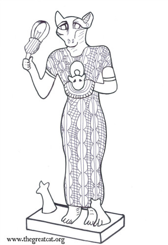 Bastet with Kittens, Ancient Egyptian Cats A Coloring Book