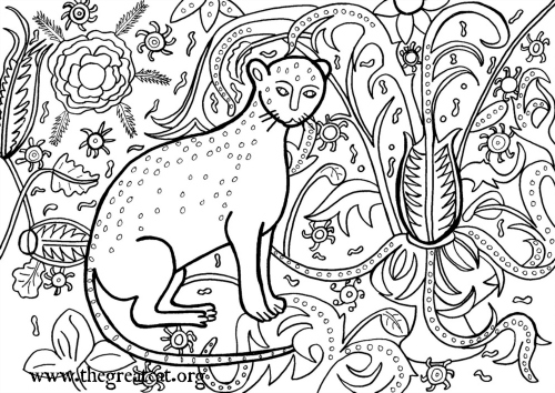 Cat, 1407, cat coloring book, adult coloring book, Medieval Cats Coloring Book