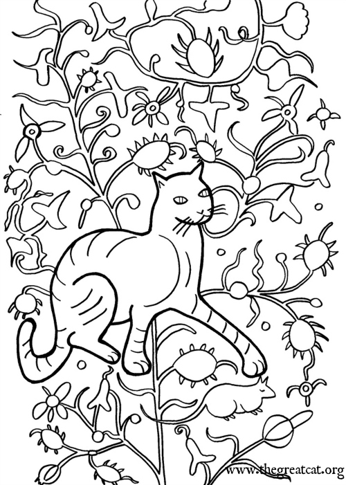 Cat and Mouse, 1500-1515, cat coloring book, adult coloring book, Medieval Cats Coloring Book