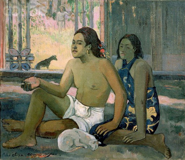 Tahitian Man, Woman and Cat, Paul Gauguin