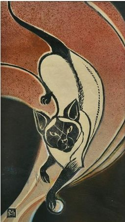 Marguerite Mahood,siamese cat design