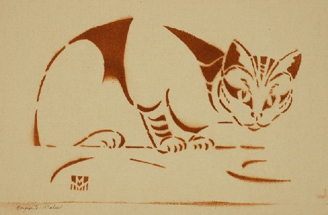 Marguerite Mahood, cats in art, linocut cats