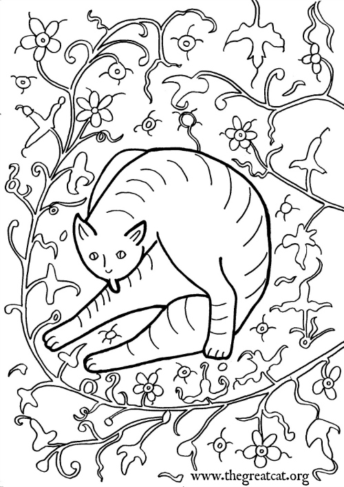Medieval Cat Grooming Itself, 15th century, cat coloring book, adult coloring book, Medieval Cats coloring book