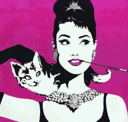 Andy Warhol, Audrey Hepburn and Cat Breakfast at Tiffany's, katze, chats